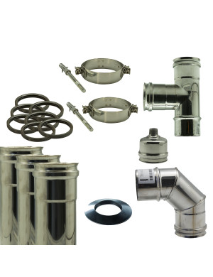 Kit fumisteria per stufa pellet diametro 80 mm Inox