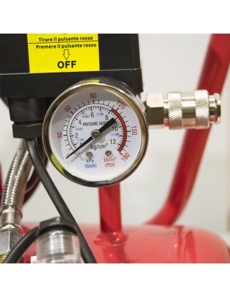 Compressore aria elettrico silenziato a secco 24 L 550W 8 Bar Virium manometro