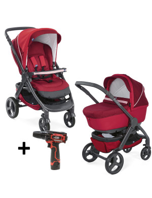 Kit passeggino Chicco Duo StyleGo UP Crossover Red Passion con avvitatore 12V