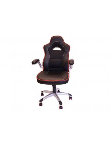 Sedia-ufficio-ergonomica-braccioli-nero-rosso